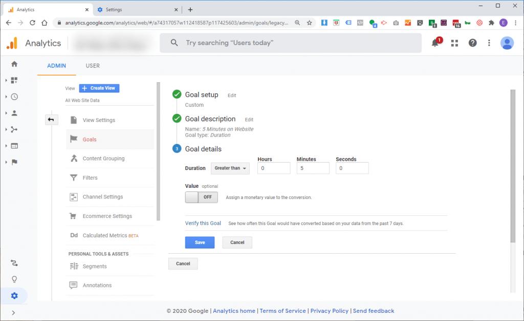 Google Analytics Duration Goal Example