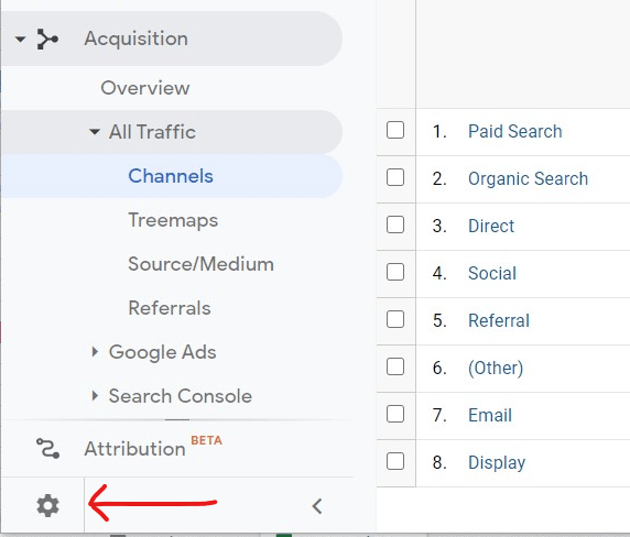 Where the Admin section is on Google Analytics